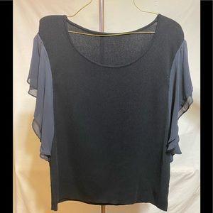 Black top with grey sheer sleeves